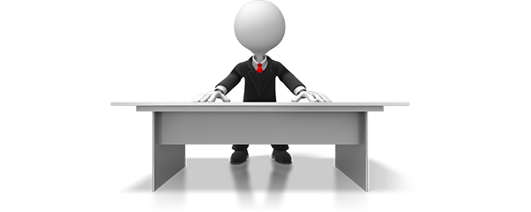 blank faced business man sitting at desk